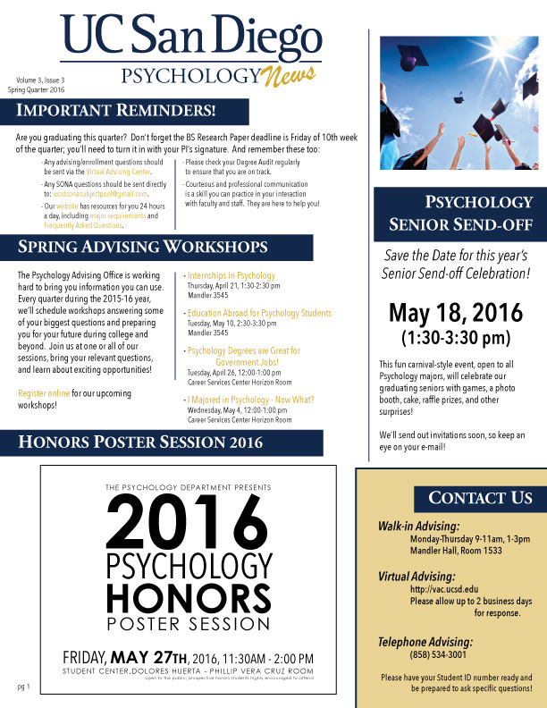 UCSD Psychology News SP16