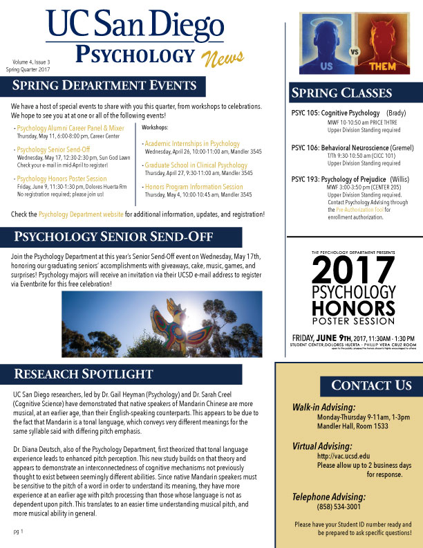 UCSD Psychology News Spring 2017
